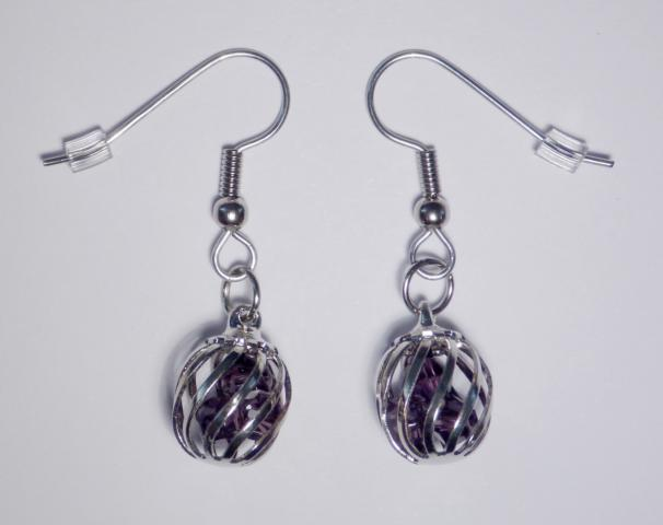 Crystal Cage Earrings purple